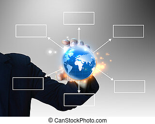 businessman holding diagram