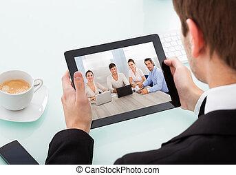 Businessman Holding Digital Tablet - Close-up Of Businessman...