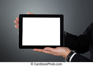 Businessman Holding Digital Tablet With Blank Screen