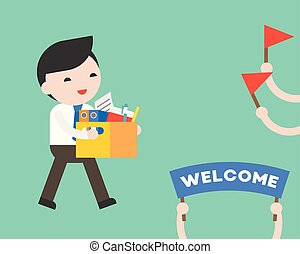Businessman holding document box with happiness and welcome...