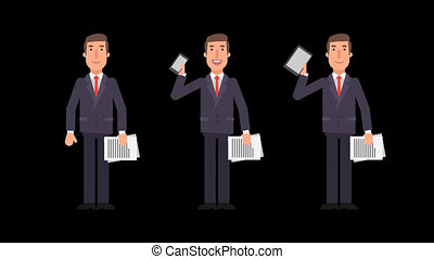 Businessman holding documents phone tablet and showing thumbs up. Alpha channel.