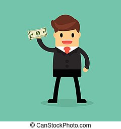 Businessman holding dollar. Funding, bribe, donation, payday concepts.