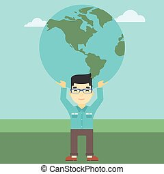 Businessman holding Earth globe.