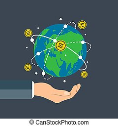 Businessman holding earth globe, Libra coin concept growth chart hand holding, bitcoin spin around the world. vector illustration