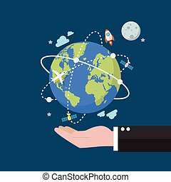 Businessman holding earth globe on space background