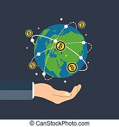 Businessman holding earth globe,bitcoin concept growth chart hand holding,bitcoin spin around the world.vector illustration