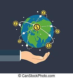 Businessman holding earth globe,Dollar coin concept growth chart hand holding,coin spin around the world.