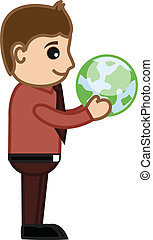 Businessman Holding Earth Vector