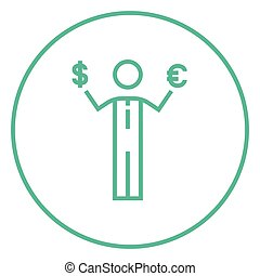 Businessman holding Euro and US dollar line icon.