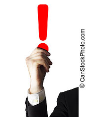 businessman holding red exclamation point in the air isolated