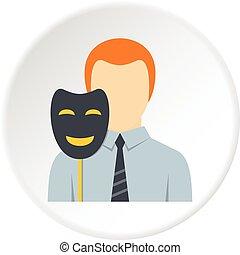 Businessman holding fake mask smile icon circle