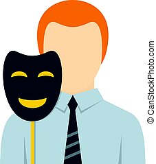 Businessman holding fake mask smile icon isolated