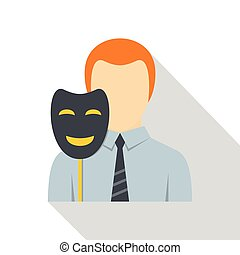 Businessman holding fake mask smile icon