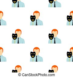 Businessman holding fake mask smile pattern flat