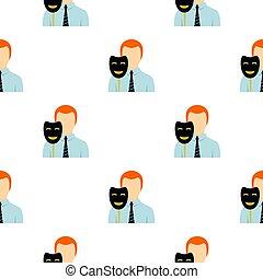 Businessman holding fake mask smile pattern flat