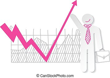 Businessman holding falling down graph line and push to...
