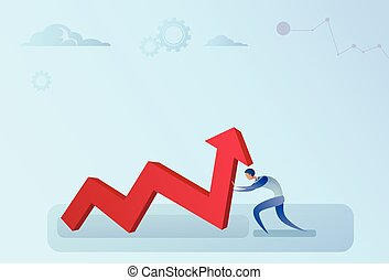 Businessman Holding Financial Arrow Up Successful Business...