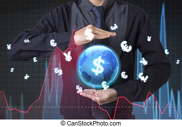 Businessman holding global financial analysis graph with signs money. concept exchange currency.