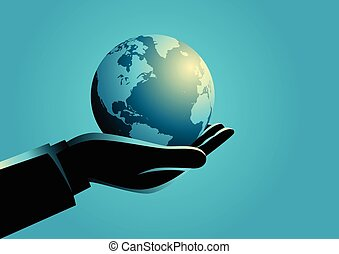 Businessman holding globe on his hand