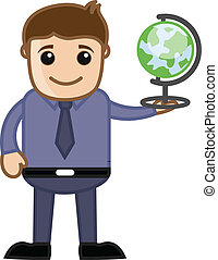 Businessman Holding Globe Vector