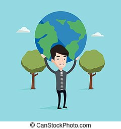 Businessman holding globe vector illustration.