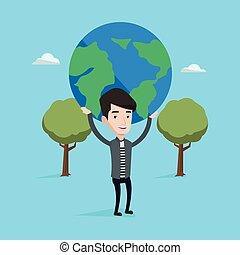 Businessman holding globe vector illustration.