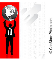 Businessman holding Globe with Binary Code Background