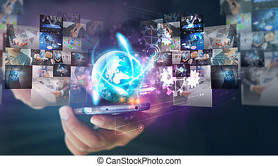 Businessman holding glowing globe with Social media icons.