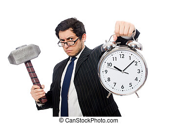 Businessman holding hammer and alarm clock isolated on white