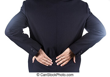 Businessman holding hands on his aching back