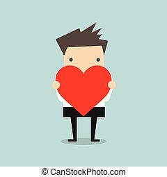 Businessman holding heart shape.