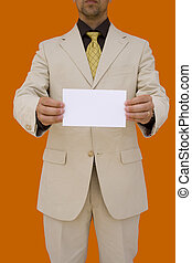 businessman holding his card