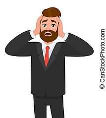 Businessman holding his hands on the head, feeling stress, pain, tired. Emotions and body language concept in cartoon style vector illustration.