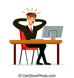Businessman holding his head by two hands while working in his office vector Illustration