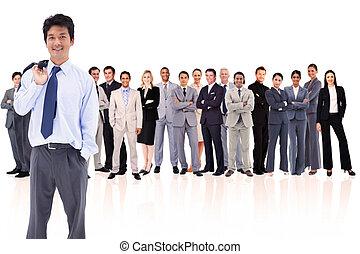 Businessman holding his jacket on his shoulder