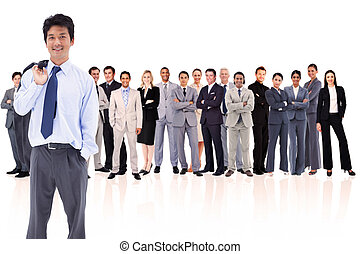 Businessman holding his jacket on his shoulder against white...