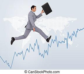 Businessman holding his suitcase ru
