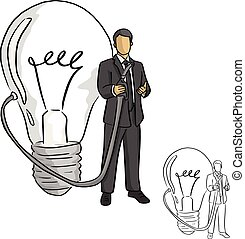 businessman holding idea nozzle from a big bulb vector illustration sketch doodle hand drawn with black lines isolated on white background. Business idea concept.