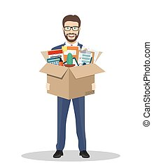 Businessman holding in a cardboard box