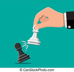 Businessman holding in hand pwan chess figure.