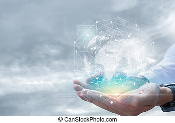 Businessman holding in hands with global connection concept.