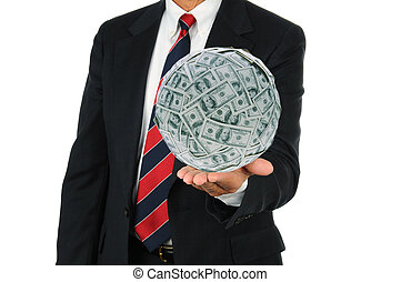 Businessman Holding Large Money Ball