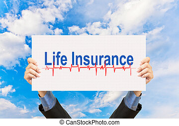 businessman holding life insurance concept and blue sky