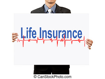 businessman holding life insurance on white background