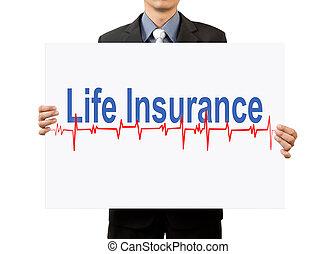businessman holding life insurance on white background