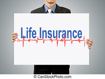 businessman holding life insurance concept
