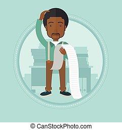 Businessman holding long bill vector illustration.