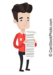 Businessman holding long bill vector illustration.