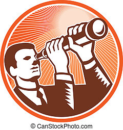 Businessman Holding Looking Telescope Woodcut - Illustration...
