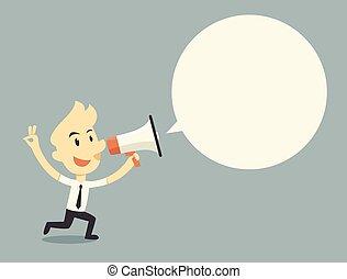 Businessman holding megaphone